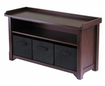 Verona Storage Hall Bench with Black Baskets [94201-FS-WWT]