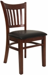 Vertical Slat Chair with Mahogany Finish and Black Vinyl Seat [8242-M-BLACK-HND]