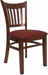 Vertical Slat Chair with Mahogany Finish and Gr 2 Burgundy Vinyl Seat [8242-M-IND8569-HND]