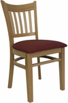 Vertical Slat Chair with Natural Finish and Gr 2 Burgundy Vinyl Seat [8242-N-IND8569-HND]