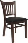 Vertical Slat Chair with Walnut Finish and Black Vinyl Seat [8242-W-BLACK-HND]