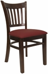 Vertical Slat Chair with Walnut Finish and Gr 2 Burgundy Vinyl Seat [8242-W-IND8569-HND]