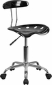 Vibrant Black and Chrome Swivel Task Chair with Tractor Seat
