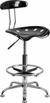 Vibrant Black and Chrome Drafting Stool with Tractor Seat [LF-215-BLK-GG]
