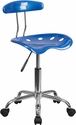 Vibrant Bright Blue and Chrome Swivel Task Chair with Tractor Seat