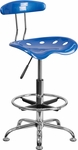 Vibrant Bright Blue and Chrome Drafting Stool with Tractor Seat [LF-215-BRIGHTBLUE-GG]