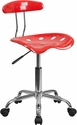 Vibrant Cherry Tomato and Chrome Swivel Task Chair with Tractor Seat