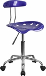 Vibrant Deep Blue and Chrome Task Chair with Tractor Seat [LF-214-DEEPBLUE-GG]