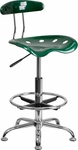 Vibrant Green and Chrome Drafting Stool with Tractor Seat [LF-215-GREEN-GG]