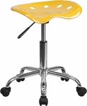 Vibrant Mustard Tractor Seat and Chrome Stool [LF-214A-MUSTARD-GG]