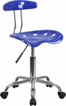 Vibrant Nautical Blue and Chrome Task Chair with Tractor Seat [LF-214-NAUTICALBLUE-GG]