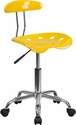 Vibrant Orange-Yellow and Chrome Computer Task Chair with Tractor Seat