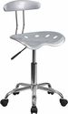 Vibrant Silver and Chrome Swivel Task Chair with Tractor Seat