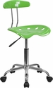 Vibrant Spicy Lime and Chrome Computer Task Chair with Tractor Seat