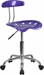 Vibrant Violet and Chrome Task Chair with Tractor Seat [LF-214-VIOLET-GG]