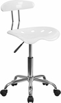 Vibrant White and Chrome Task Chair with Tractor Seat [LF-214-WHITE-GG]