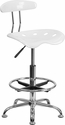 Vibrant White and Chrome Drafting Stool with Tractor Seat