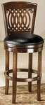 Vienna Wood 31'' Bar Height Stool with Black Leather Swivel Seat - Tobacco [60956-FS-HILL]
