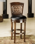Vienna Wood 24'' Counter Height Stool with Black Leather Swivel Seat - Tobacco [60955-FS-HILL]