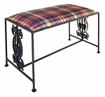 Vineyard 21''W x 18''H Wrought Iron Backless Bench with Upholstered Seat [GMC-B1-7-FS-GCM]