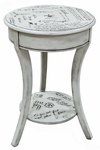 Parisian Script 18.25''Diameter x 26.5''H Accent Table with Storage Shelf - Vintage Cream [2618-VC-FS-CCTCO]