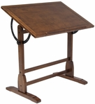 Vintage Height Adjustable 36''W x 24''D Solid Wood Drafting Table - Rustic Oak [13304-FS-SDI]