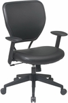 Space Vinyl Over Air Grid Back Deluxe Task Chair - Black [5500V-FS-OS]