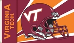 Virginia Tech Hokies 3' X 5' Flag with Grommets - Helmet Design [95311-FS-BSI]