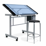 Vision 2 Piece Blue Tempered Glass and Steel Craft Center with Padded Stool - Silver [10055-FS-SDI]