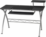 Vision Computer Desk with White Glass Inset and Slide Out Keyboard Tray - Anthracite [972ANT-FS-MAY]