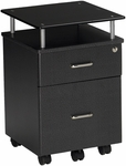 Vision Box and File Drawer Pedestal with Raised Black Glass Top - Anthracite [973ANT-FS-MAY]