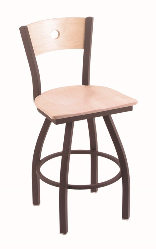 Voltaire 25 39 39 Bronze Swivel Counter Height Stool With Natural Maple W