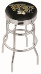 Wake Forest University 25'' Chrome Finish Double Ring Swivel Backless Counter Height Stool with Ribbed Accent Ring [L7C3C25WAKEFR-FS-HOB]