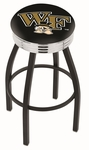 Wake Forest University 25'' Black Wrinkle Finish Swivel Backless Counter Height Stool with Ribbed Accent Ring [L8B3C25WAKEFR-FS-HOB]