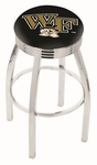 Wake Forest University 25'' Chrome Finish Swivel Backless Counter Height Stool with 2.5'' Ribbed Accent Ring [L8C3C25WAKEFR-FS-HOB]