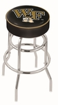 Wake Forest University 25'' Chrome Finish Double Ring Swivel Backless Counter Height Stool with 4'' Thick Seat [L7C125WAKEFR-FS-HOB]