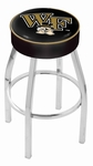 Wake Forest University 25'' Chrome Finish Swivel Backless Counter Height Stool with 4'' Thick Seat [L8C125WAKEFR-FS-HOB]