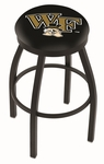 Wake Forest University 25'' Black Wrinkle Finish Swivel Backless Counter Height Stool with Accent Ring [L8B2B25WAKEFR-FS-HOB]