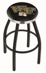 Wake Forest University 25'' Black Wrinkle Finish Swivel Backless Counter Height Stool with Chrome Accent Ring [L8B2C25WAKEFR-FS-HOB]