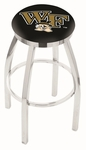 Wake Forest University 25'' Chrome Finish Swivel Backless Counter Height Stool with Accent Ring [L8C2C25WAKEFR-FS-HOB]