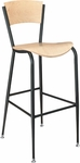 Walker Metal Bar Stool - Beechwood Seat and Back [288A-FS-CMF]