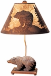 Nature Carved Wood Walking Bear 22''H Lamp with Silhouette Bear Scene Shade - Brown [95T161-FS-PAS]