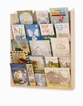 Birch Wall Book Display Rack with Clear Plexiglass Holders [WB0600-FS-WBR]