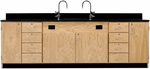 Wooden Science Workstation with 1'' Thick Black Epoxy Resin Top, 4 Locking Cabinets, and 8 Locking Drawers - 108''W x 24''D x 36''H [3236K-DW]