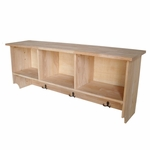 Solid Parawood 50''W X 19''H Wall Shelf Unit with Three Cubby Storage and Coat Hooks - Unfinished [SH-150-FS-WHT]