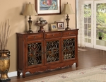 Walnut 3-Door Scroll Console [246-335-FS-PO]