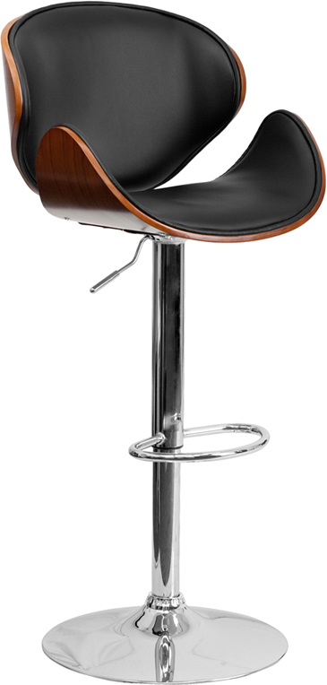 Walnut Bentwood Adjustable Height Bar Stool With Curved