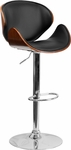 Walnut Bentwood Adjustable Height Barstool with Curved Black Vinyl Seat and Back [SD-2203-WAL-GG]