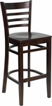 Walnut Finished Ladder Back Wooden Restaurant Barstool [BFDH-8241WW-BAR-TDR]