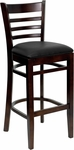 Walnut Finished Ladder Back Wooden Restaurant Barstool with Black Vinyl Seat [BFDH-8241WBK-BAR-TDR]